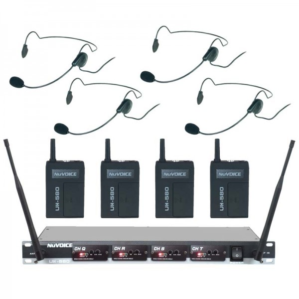 NuVoice UH-580 4 Channel Wireless Headset System