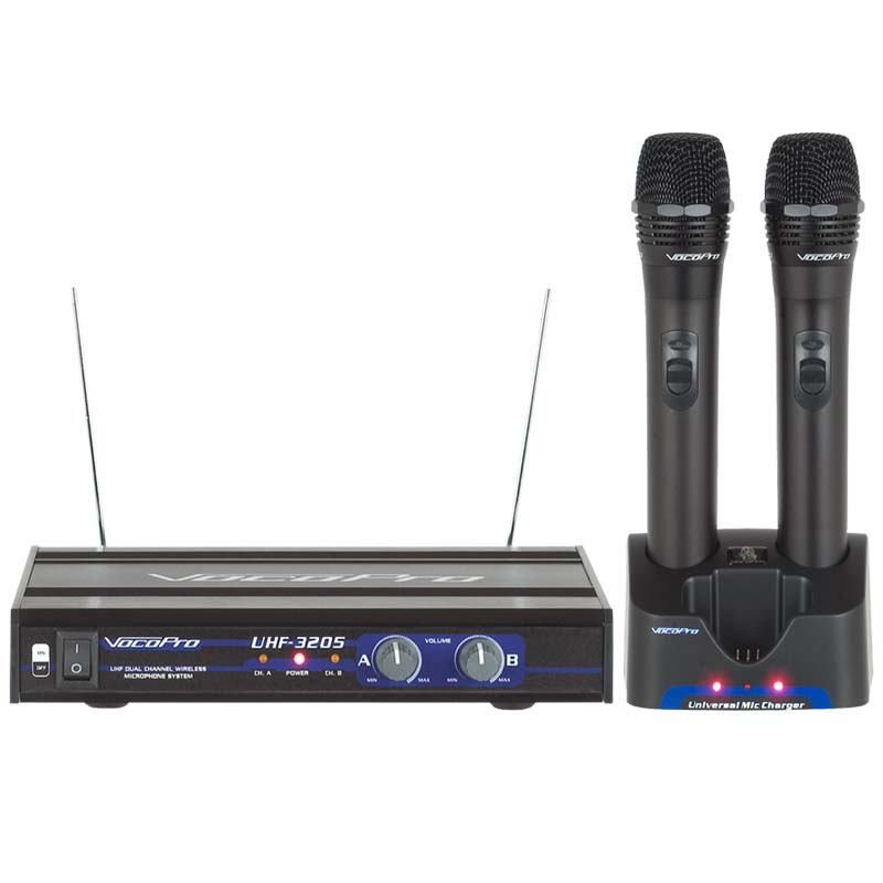 vocopro uhf 3205 uhf dual channel rechargeable wireless microphone system. Black Bedroom Furniture Sets. Home Design Ideas