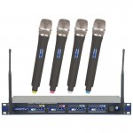 VocoPro UHF-5800 Professional 4-Channel UHF Wireless Microphone System With Case