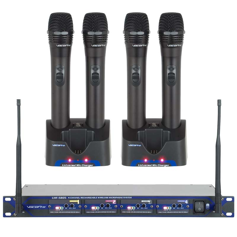 VocoPro UHF 5805 Professional Rechargeable 4 Channel Wireless Microphone System 900MHz
